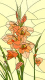 Vector illustration of flowers red gladiolus. Vector mosaic with large cells of gladiolus on yellow Stock Images