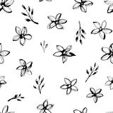 Vector Illustration flowers seamless hand drawn pattern. Grunge style design. Vector Illustration Forget-me-not flowers seamless hand drawn pattern. Black and vector illustration