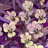 Vector illustration of flowers violet (Pansy). Royalty Free Stock Image