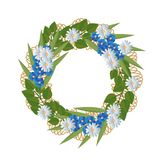 Vector illustration flowers wreath on white background. Beautiful  illustration flowers wreath isolated on white background Stock Photos