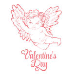 Vector illustration of flying angel or cupid. Valentine' day greeting card. Vector illustration of flying angel or cupid Stock Photos