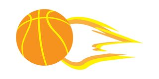 Vector Illustration of flying fiery basketball. Basketball flying through the air on white background Stock Photography