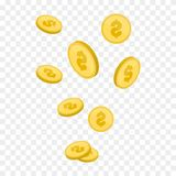 Vector Illustration of flying golden coins. Money illustration isolated background. Stock Photo