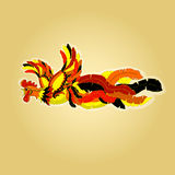 Vector illustration of a flying rooster, painted in Chinese style with fluttering tail.  Stock Image