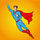 Vector illustration of flying up superman, retro pop art style Royalty Free Stock Photography