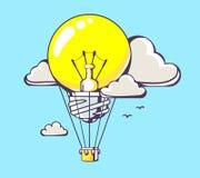 Vector illustration of flying yellow lightbulb balloon Stock Image