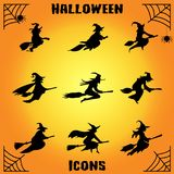 Witch icon set. Vector illustration of flying young witch icon. Witch silhuette on a broomstick Royalty Free Stock Photography
