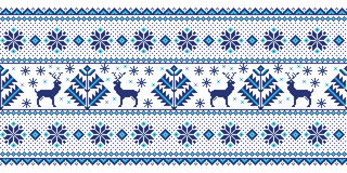 Vector illustration of folk seamless pattern ornament. Ethnic New Year blue ornament with pine trees and deers. Stock Image