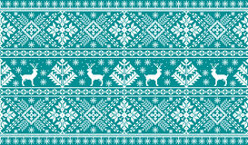 Vector illustration of folk seamless pattern ornament. Ethnic New Year blue ornament with pine trees and deers. Royalty Free Stock Image