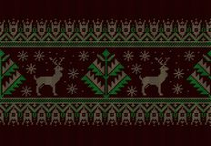 Vector illustration of folk seamless pattern ornament. Ethnic New Year green ornament with pine trees and deers. Cool royalty free stock image