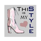 Illustration of Font poster with winter women shoes. Graphic top view footwear for female and lady. Fashion design for Stock Photos