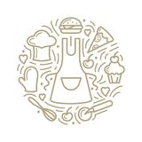 Vector illustration with food, apron and additional items. Line style round concept vector illustration