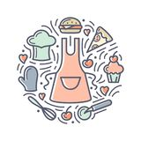 Vector illustration with food, apron, cook cap and additional items. Doodle style round concept vector illustration