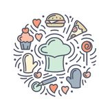 Vector illustration with food, cook cap and additional items. Doodle style round concept vector illustration