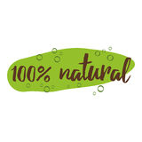 Handwritten  lettering sign with text natural for organic products label or badge Royalty Free Stock Photos