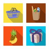 Vector illustration of food and drink sign. Set of food and store vector icon for stock. vector illustration