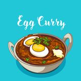 Indian traditional cuisine egg curry stock illustration
