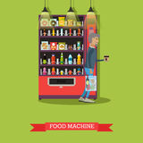 Vector illustration of food machine and man with coffee Stock Photography