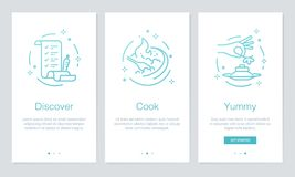 Food and Recipes concept onboarding app screens. Modern and simplified vector illustration walkthrough screens template for mobile Royalty Free Stock Image