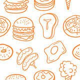Vector illustration of food various doodles Royalty Free Stock Photo