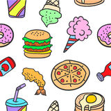 Vector illustration of food various doodles Stock Images
