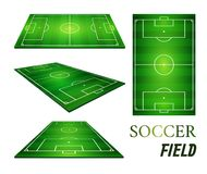 Vector illustration of football field, soccer field.  Royalty Free Stock Images