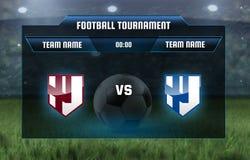 Vector illustration football scoreboard team A vs team B broadcast graphic soccer game score template for web, poster vector illustration