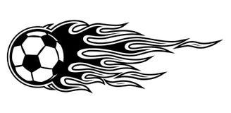 Vector illustration of football soccer ball icon with flames. Vector illustration of burning football soccer ball icon with hot rod flames. Ideal for sticker Stock Image