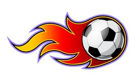 Vector illustration of football soccer ball with simple flame sh. Ape. Ideal for sticker, decal, sport logo and any kind of decoration Royalty Free Stock Image