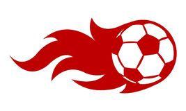 Vector illustration of football soccer ball with simple flame sh. Ape. Ideal for sticker, decal, sport logo and any kind of decoration Stock Photography