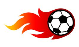 Vector illustration of football soccer ball with simple flame sh. Ape. Ideal for sticker, decal, sport logo and any kind of decoration Stock Photos