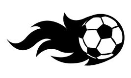 Vector illustration of football soccer ball with simple flame sh. Ape. Ideal for sticker, decal, sport logo and any kind of decoration Stock Image