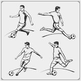 Vector illustration of football and soccer players. Black and white Royalty Free Stock Photo