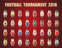 Football tournament 2018. Vector illustration. Football / soccer tournament 2018. Nesting dolls Royalty Free Stock Image