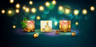 Vector Illustration For Merry Christmas And Happy New Year . Gre Stock Image