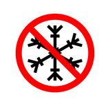 Vector Illustration of a forbidden signal with a snow flake. Red prohibitory sign. No snowflake. No frozen. Stop symbol.  Royalty Free Stock Image