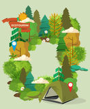 Vector illustration with forest and camping. Stock Images