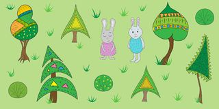 Vector illustration of a forest. Illustration of hares in a forest stock illustration