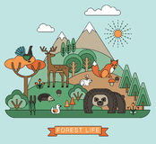 Vector illustration of forest life. Royalty Free Stock Images