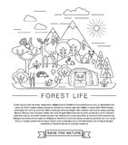 Vector illustration of forest life. Stock Photography