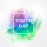 Vector illustration forInternational Youth Day. Hand drawn watercolor bright holiday background on 12 august.Happy Yout. H day. Design template for greeting Vector Illustration