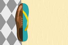 Vector illustration of formal shoe and flip flop Royalty Free Stock Image
