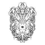Vector illustration of fortune teller  with three heads,  eyes, floral baroque frame. Stock Image