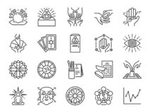 Fortune telling line icon set. Included icons as fortunes, tarot, palmistry, Chi-Chi Sticks, horoscope and more. royalty free illustration