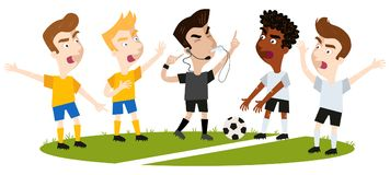 Vector illustration of four cartoon football players disagreeing and gesturing, standing on football field, referee interrupts. Vector illustration of four Royalty Free Stock Photos