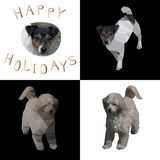 Vector illustration of four chess cells with dogs pictures in different styles and the words Happy Holidays 2018 by dog Stock Image