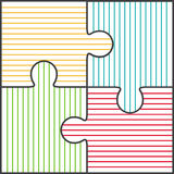 Vector illustration of four colorful puzzle pieces Stock Images