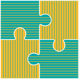 Vector illustration of four colorful puzzle pieces Royalty Free Stock Photography