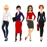 Vector illustration of four elegant business women in different poses on white background in flat cartoon style. stock illustration