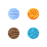 Vector illustration of four elements isolated into round shape Stock Photos